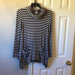 Black and ecru striped hoodie